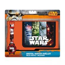 SET BILLETERO+RELOJ DIG.STAR WAR